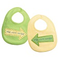 Grasslands Road Baby Twins That Ones Trouble Bibs Green-Yellow