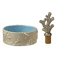 Coastal Life Coral Motif Wine Coaster and Stopper Gift set