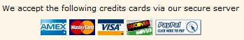 American Express, Master Card, Visa, Discover, PayPal payment methods