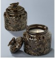 Brown Tapestry Candle Pot Covered