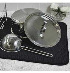 Envision Home Black Dish Drying Mat.