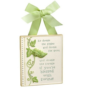 Grasslands Road Peas in a Pod Baby Twins Wall Plaque Blessing
