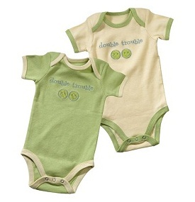 Grasslands Road Peas in a Pod Baby Twins Onesies Double Trouble