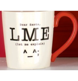 Holiday Mug with Text Emoticon LME from Grasslands Road