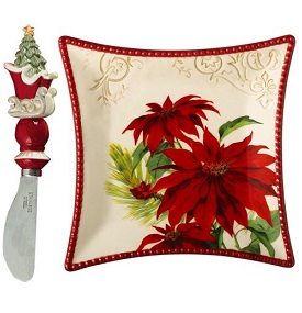 Grasslands Road Let Nature Sing Tidbit Plate & Spreader Poinsettia