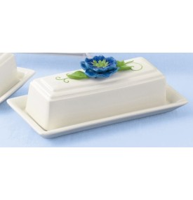 Petals Butter Dish with Flower Knob Red or Blue