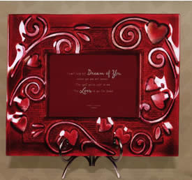 Grasslands Road Frame Red Glass Hearts in Gift Box