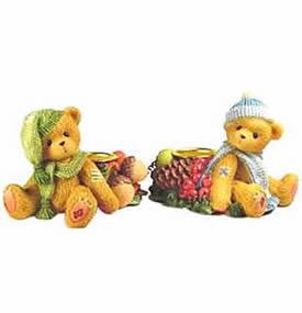 Cherished Teddies Candle Holders Holiday Bears