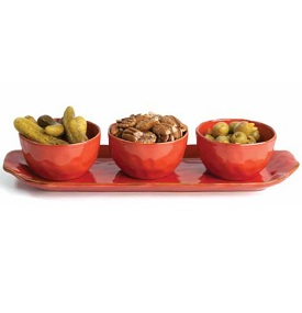 Cantaria Poppy Red Rectangular Cheese Tray by Skyros Designs