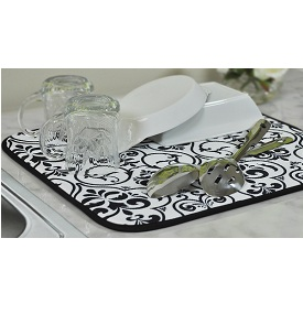 Envision Home Black White Damask Dish Drying Mat